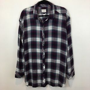 Caslon Boyfriend Fit Flannel Button Down Size XL